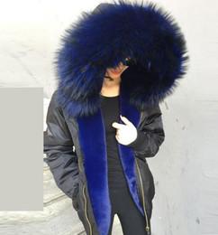 Nylon Coating Australia - Snow coats Meifeng brand blue rabbit fur lining black bomber jackets with Lavish blue raccoon fur trim waterproof nylon jacket