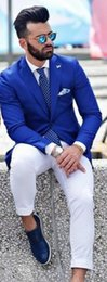 Grey Suit Royal Blue Tie Australia - New Causal Royal Blue Men Suits with White Pants 2019 Weding Suits for Men costume homme (Jacket+Pants+Tie)
