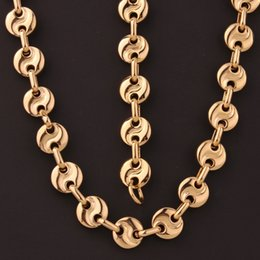 "$enCountryForm.capitalKeyWord NZ - 10MM Fashion 316L Stainless Steel Gold Color ""S"" Shape Coffee Beans Link Chain Mens Women Unisexs Necklace&Bracelet Jewelry"