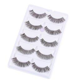 $enCountryForm.capitalKeyWord Australia - 5 Pairs Black Long Sparse Cross False Eyelashes Handmade Natural Fake Eye Lashes Women Big Eyes Extensions Makeup Tools