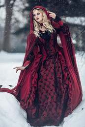 $enCountryForm.capitalKeyWord Australia - Red and Black Gothic Medieval Wedding Dresses Long Sleeves Renaissance Fantasy victorian vampires Country Wedding Dresses With Caped 2019