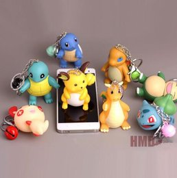 Mini Figures Keychain Australia - 3d Anime Go Key Ring Pikachu Keychain Pocket Monsters Key Holder Pendant Mini Charmander Squirtle Bulbasaur Figure Toys