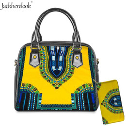 ladies handbags compartments Australia - Jackherelook 2pcs African Traditional Women Leather Handbag Purse Messenger Crossbody Shoulder Bags for Lady Large Totes