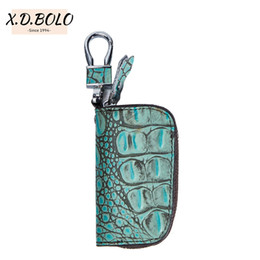 China X.D.BOLO Brand Leather Smart Key Wallet Keychain Pocket Car Key Holder Organizer Holder Women Keychain Covers Zipper supplier wholesale key holder suppliers