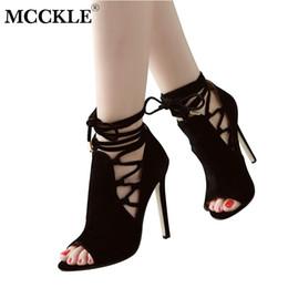 $enCountryForm.capitalKeyWord NZ - Dress Mcckle Women 2019 New Peep Toe Flock Ankle Strap Thin High Heels Ladies Lace-up Rome Gladiator Shoes Woman Fashion Pumps Shoe