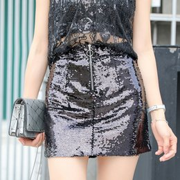 Wholesale sequined skirts resale online - Bling Skirts Woman Mini Skirts Female Sequined European Style Woman