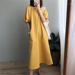 wholesale vintage clothes UK - Casual Dress Famale Designer Clothing Womens Puff Sleeve Loose Dress Fashion Round Neck Solid Color Summer