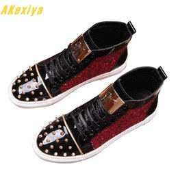 $enCountryForm.capitalKeyWord Australia - New Arrival Sequins Rivet Sheet Metal Casual Platform High Top Shoes Flats Male Designer Prom Dress Loafers Shoes Zapatos Hombre MX190729