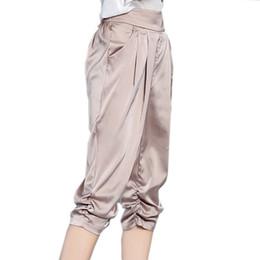 90c5cd861ab9 Women Pants Casual Loose Elastic Silk Like Pleated High Waist Harem Pants  Fashion Summer Ladies Black Trousers Pantalon Mujer