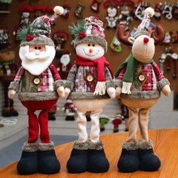 Wholesale cartoon reindeer for sale – halloween Christmas Tree Decor New Year Ornament Reindeer Snowman Santa Claus Standing Doll Home Decoration Merry Christmas Gift Height cm
