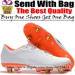 $enCountryForm.capitalKeyWord Australia - Original Outdoor Leather Soccer Shoes SG Men Cheap Football Boots Mercurial Vapors XII Pro Spikes Low Soccer Cleats White Orange Size 6.5-12