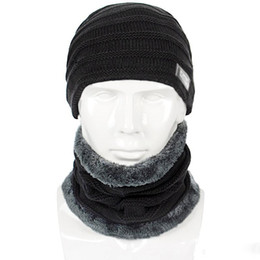 Slouchy Hats For Women Australia - Winter Men Hat And Scarf Set For Women Male Ring Scarves Cap Knit Beanies Slouchy Hat Soft Stretch Cable Skullies Warm Suit