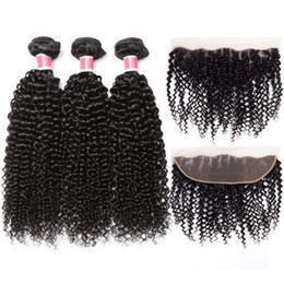Tight Curls Hair Australia - 8A Peruvian Jerry Curly Lace Frontal with Bundles Tight Curly Weave Human Hair Bundles with Frontal Closure Malaisian Curly Hair Jet Curls