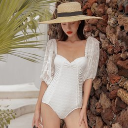 New koreaN swimwear online shopping - Women s One Piece Swimsuit Swimwear Push Up Beach Womens One Piece Women Korean Female Block New Solid Polyester Sierra