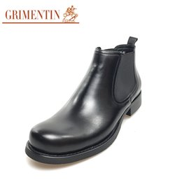grimentin shoes UK - GRIMENTIN 2020 Hot sale brand fashion mens boots 100% genuine leather slip-on black comfortable casual men dress shoes ankle male boots