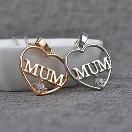 gold mum Australia - New Mother's Day Gift Love MUM Heart Pendant Rhinestone Necklaces Jewelry For Women Mom Free Shipping