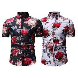 Wholesale men's white slim fit shirt for sale - Group buy Fashion Men s Luxury Short Sleeve Shirt Casual Slim Fit Stylish Dress Shirts Tops male Summer Floral Print Leisure Shirts