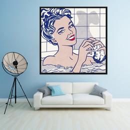 $enCountryForm.capitalKeyWord Australia - Handpainted & HD Print Roy Lichtenstein Popular Art Repro Bathing Girl Abstract Oil Painting On Canvas Wall Art Home Deco High Quality g201