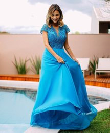 New Lace Prom Vestidos Beading Sheer Mergulhando Pescoço Backless Vestidos De Noite Chiffon Vestidos De Fiesta Uma Linha Vestido Formal em Promoção