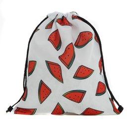 39x30 cm Harajuku Pano Sacos de Cordão Canvas Kawaii Sacos De Armazenamento De Frutas Melancia Mochila 3d Impresso Saco Do Presente Das Mulheres