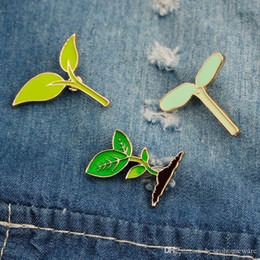 Cartoon Brooch Pin Natural Simple Green Leaf Bean Sprouts Badges Pin Brooch Applique Cloth Shirt Bag Accessories Jewelry Gifts BH2184 CY