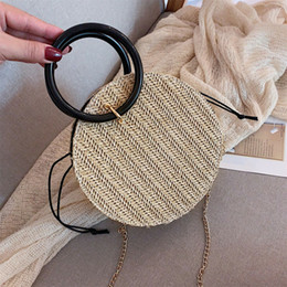 wholesale cotton beach totes NZ - Round Woven Straw Messenger Crossbody Bag Women Shoulder Bag Lady Casual Summer Beach Handbag Women Fashion Tote