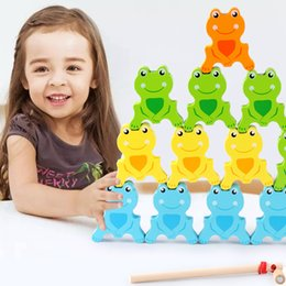 magnetic blocks educational Australia - Baby Intellectual Educational Toy Children's Magnetic Wooden Frog Balanced Building Blocks Fishing Game Early Childhood Teaching