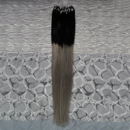 Discount light brown blonde highlights - silver ombre micro hair extensions 100g 1g Stand 100pieces grey Micro Loop Ring Hair Highlight Color Remy Pre Bonded Hai