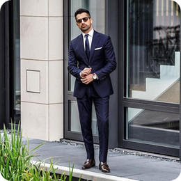 87801325359 Discount slimming plus size evening wear - Custom Made Navy Blue Men  Business Suits Groom Tuxedo