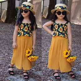$enCountryForm.capitalKeyWord Australia - Toddler Kid Baby Girl Summer Sunflower Sleeveless Tops T-shirt Long Wide Leg Pants Outfit Set Girls Clothes 2pcs
