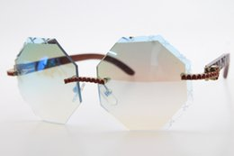 blue amber stone UK - 2020 Carved Wood 4189706 Rimless Red Diamond glasses Unisex Wood Stone Sunglasses Hot with box Carved Blue mirror Decor Wood frame Glasses