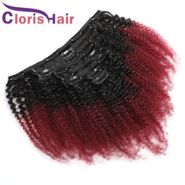 Discount curly remy hair red 1B 99J Ombre Clip In Extensions Afro Kinky Curly Brazilian Remy Human Hair Full Head 8pcs set 120g Wine Red Colored Weave Clip Ins