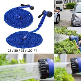 gun water pipes NZ - Car Wash Pipe Garden hose 25FT 50FT 75FT 100FT Flexible Garden Water Hose With Spray Gun Retractable Watering Telescopic Rubber Hose