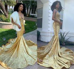 velvet african fashion dresses 2020 - Daffodil Sexy Deep V Neck Mermaid Prom Dresses Reflective Fashion South African Lace Appliques Evening Party Gowns Long