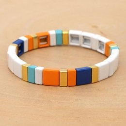 boho chic jewelry Canada - Shinus 2020 New Bracelet For Women Enamel Tile Bracelets Pulseras Mujer Moda 2020 Boho Chic Summer Beach Jewelry Gift For Her