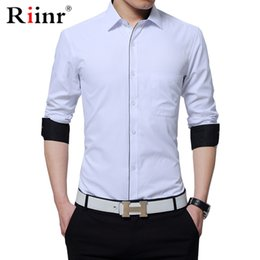 Wholesale men causal shirts resale online - Men Shirt New Spring Long Sleeved Solid White Male Business Causal Shirt Formal Man Business Slim Fit Man Dress