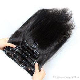 Human Hair Clip Dhl NZ - Clip In Human Hair Extensions Brazilian Virgin Hair 70-160g option set with natural color, Free DHL