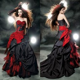 f962ffc39d1e Black And Red Gothic Mermaid Wedding Dresses 2019 Vintage Victorian  Sweetheart Ruffle Taffeta Sweep Train Big Bow Sexy Corset Bridal Gowns