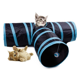 toys for pet rabbits NZ - 2 3 Holes Foldable Pet Cat Tunnel Indoor Outdoor Pet Cat Training Toy for Cat Rabbit Animal Play Tunnel Tube T-joint