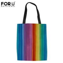 $enCountryForm.capitalKeyWord Australia - FORUDESIGNS New 3D Rainbows Printing Foldable Tote Women Shopping Bags Large Shoulder Bag for Ladies Handbag Tote Bag Pouch 2019
