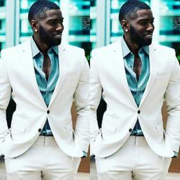 $enCountryForm.capitalKeyWord Australia - Men Suits Ivory Custom Made Wedding Suits For Man Prom Bridegroom Groomsmen Slim Fit Casual Groom Wear Best Man Tuxedos Blazer Jacket+Pants