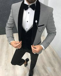 morning suit slim fit UK - Elegant 3 Piece Men Suit 2020 Morning Dinner Party Prom Suit Houndstooth Groom Wedding Men Suit Blazer Slim Fit Best Man Tuxedo