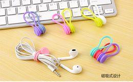 $enCountryForm.capitalKeyWord NZ - Hot Multifunction Management Silicone Earphone Headphone Cord Winder USB Cable Holder Strap Magnetic Organizer Gather Clips Colorfu 3pcs bag