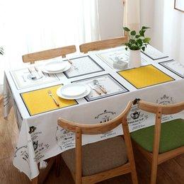 Tovaglia da tavola rettangolare in cotone per la casa, in cotone vintage e canapa in Offerta