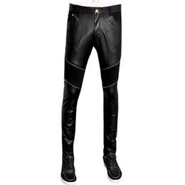 $enCountryForm.capitalKeyWord UK - pu leather streetwear straight skinny pants men pencil denim trousers pantalon homme 28-36 CYG100