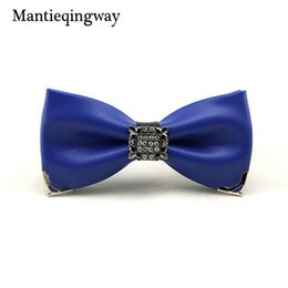 $enCountryForm.capitalKeyWord Australia - wholesale Novelty Cravat PU Bow Tie Solid Color Neckwear for Mens Suits Bowtie Upscale Noeud Papillon Women Dress