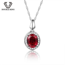 pendant oval Australia - Double-r Classic 925 Silver Pendant Necklace Created Oval Ruby 2.0ct Gemstone Zircon Pendant For Women Wedding Jewelry J190611