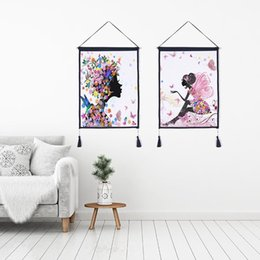 $enCountryForm.capitalKeyWord Australia - Decor Wall Scroll Hanging Tapestry butterfly girl Hanging Painting,Sofa Background Hanging Cloth,Corridor,Porch,Electric Meter Box