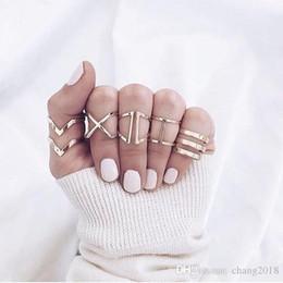 Boho Style Rings Australia - 10 styles Steampunk Boho Knuckles Women Rings Gold Color Geometric Wave Cross Metal Maxi Ring Set Female Jewelry Vintage Ringen ALXY02