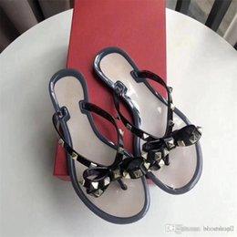 8804527e70c71a Summer Jelly Color Luxury BRAND Women Flip Flops Slippers Flat Sandals Bow  Rivet Fashion Pvc Crystal Beach Shoes original box